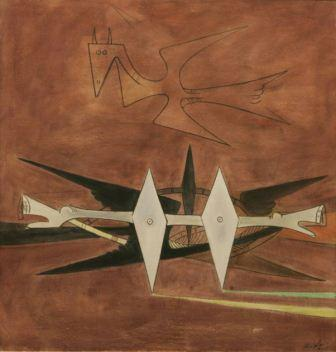 Wifredo Lam, Here on Earth, 1955. Courtesy of Gary Nader.