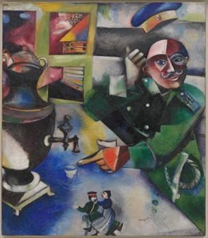 Marc Chagall  El soldado bebe (Le soldat boit, 1911–12) Óleo sobre lienzo 109,2 x 94,6 cm  Solomon R. Guggenheim Museum, New York, Colección Fundacional Solomon R. Guggenheim, 49.1211 © VEGAP, Bilbao, 2016