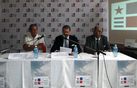 De izq. a derecha: Alfredo Ruiz Roche, Jean-Mari Bruno, Eduardo Torres Cuevas