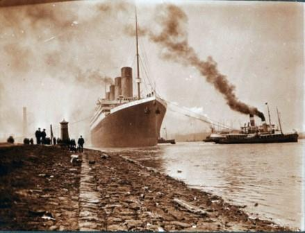 The Titanic vessel departs Belfast, seen from the shore. Courtesy of the National Museums Northern Ireland.