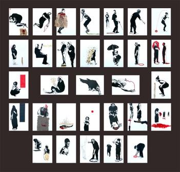 Santiago Rodríguez Olazábal. HUELLAS. Conjunto 31 dibujos. Tec. Mixta sobre cartulina. Dimensiones variables. 2016