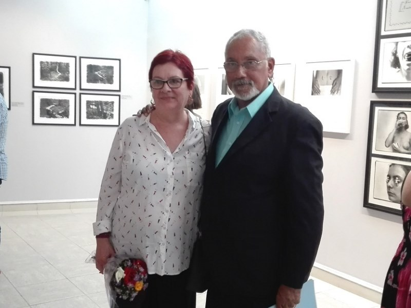 The artist and Roberto Cobas at the opening