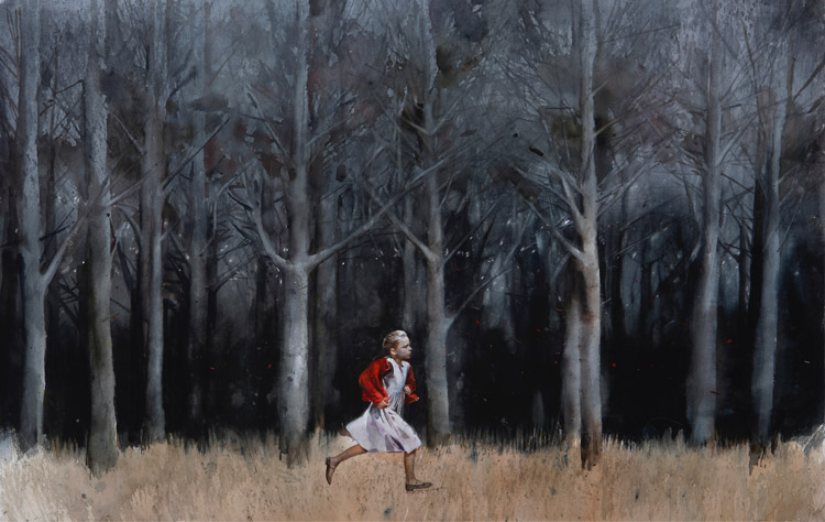 "Andrey Zadorine, ""Running in the forest"", acuarela, 2014."