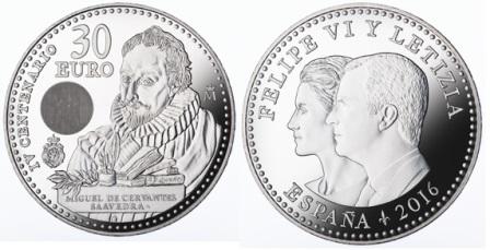 Moneda de 30€ conmemorativa del IV Centenario de la muerte de Miguel de Cervantes