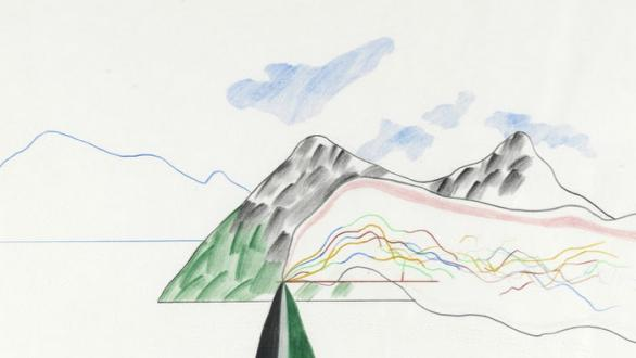 David Hockney, Lebanese Mountain, 1966, colored pencil on paper and ink on paper, Courtesy Philippe Jabre