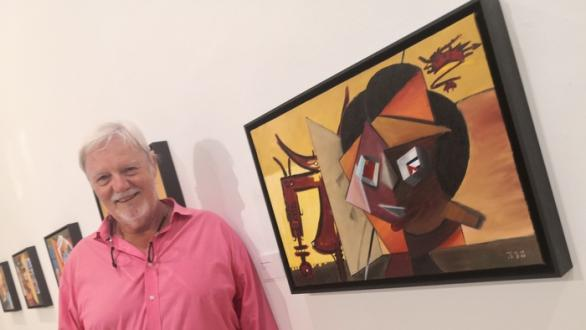 Willy LP with his painting tribute to Wifredo Lam