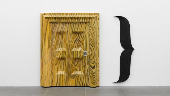 Richard Artschwager, Door }, 1983-84 Acrylic and lacquer on wood and glass, metal, two parts 207.6 x 165.1 x 24.8 cm Collection Kerstin Hiller and Helmut Schmelzer, on loan to Neues Museum Nürnberg Photo: Annette Kradisch © Estate of Richard Artschwager, VEGAP, Bilbao, 2020