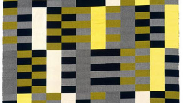 Anni Albers, Black White Yellow 1926/1965, original 1926 (lost), re-woven by Gunta Stölzl in 1965 Cotton and silk 2032 x 1207 mm The Metropolitan Museum of Art, Purchase, Everfast Fabrics Inc. and Edward C. Moore Jr. Gift, 1969 © 2018 The Josef and Anni Albers Foundation / Artists Rights Society (ARS), New York/DACS, London