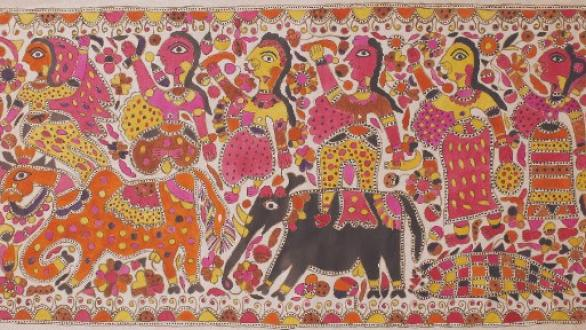 Jamuna Devi, Raja Salhesh with his two brothers and three flower maidens, c. 2000, natural dyes on paper. © 2015, Courtesy of BINDU modern Gallery, Photo credit: Sneha Ganguly.