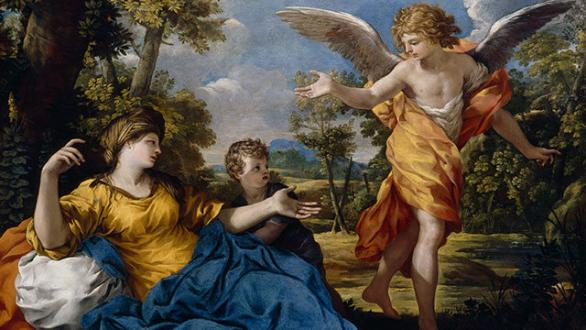Pietro da Cortona (Pietro Berrettini) (Cortona 1596–1669 Rome), Hagar and the Angel, ca. 1643. Oil on canvas, 114.3 × 149.4 cm. Bequest of John Ringling, 1936, SN 132